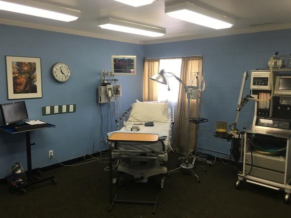 Hospital Set in a standing film set studio.