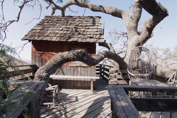 A tree House next to a beautiful antique house. Great view.