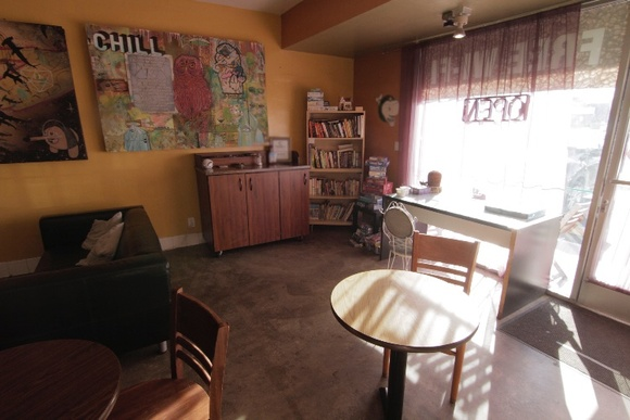 Eclectic, artsy, spacious coffee shop. Family owned. Film friendly. Quiet neighborhood. NOTE: During non-business hours and Sundays the rate for small student and independent productions could go lower. Business Hours: Mon-Fri (7AM-5PM), Sat (8AM-5PM).