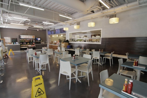 Fast Food Greek Cafe. Bright, clean, spacious, modern. Business hours: 10AM-6PM (Mon-Fri). Closed on the weekend. Rates are for non-business hours only. Closedown of the business is $5000 + rate. Public parking nearby. Kitchen, Office, Restaurant (Restroom is in the plaza).