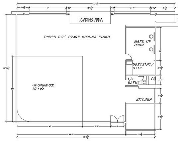 A two wall infinity cyclorama measuring 30x30 and 14 feet high located inside of a warehouse stage with large factory windows and unique brick walls. Makeup station, talent room, bathroom, kitchen available.