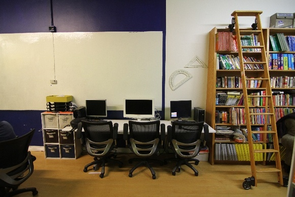 Tutoring Center with 8 seat computer lab, classroom with dry erase wall. Front office, main office, classroom, green screen wall, waiting room, computer room, bathroom. 1 floor plus rooftop and storefront. Flexible hours. Best days would be weekends.