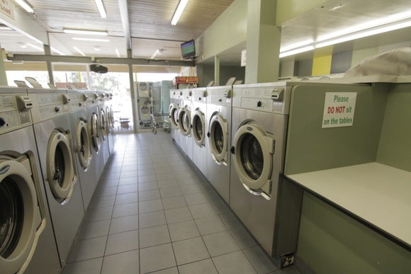 Coin Laundry. Office spaces off limits. 