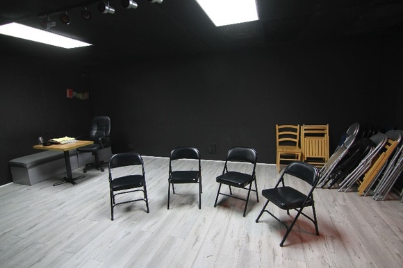 Multipurpose Studio, rehearsal space, with air conditioning and heating. Audience and work area seats 12-25 people if needed. There are two sets of bathrooms outside in the office and lobby. Space has an office with a working MAC computer, a printer, different light modes and equipped with chairs. It is available overnight and has a flexible schedule. There is one parking spot available right behind the building. There is street parking. Located on the first level. Rates are negotiable on a case by case basis if you are using the space on more than one day.