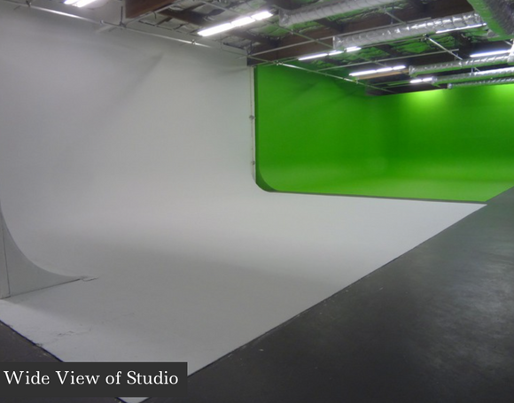 Available hours 7AM-10PM (late nights shoots are possible). Full production studio with a fully gated parking lot, open space with a 55' green screen and a 50' white cyc, production loft, makeup and wardrobe area, kitchen area, green room, conference room and equipment on site.
