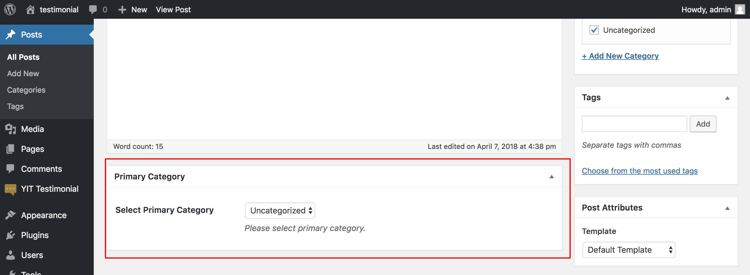 Primary slug in WordPress CMS permalink while multiple