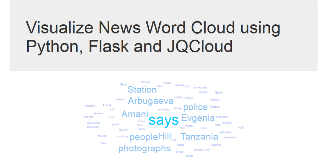 Visualize News Word Cloud using Python, Flask and JQCloud | Codementor