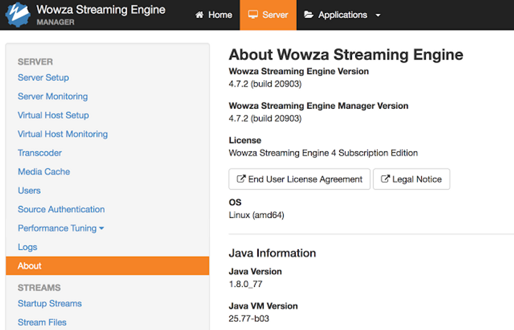 Wowza Streaming Engine 4 7 2 (build 20903) + SRT supported