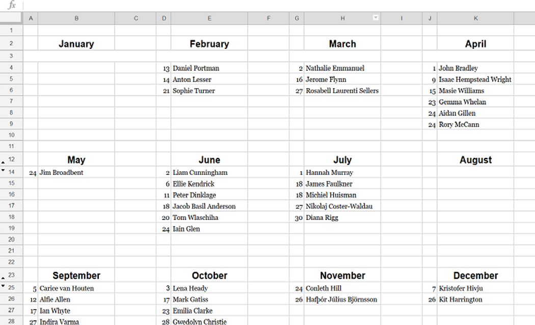 A Google Sheets Birthday Calendar for the Game of Thrones