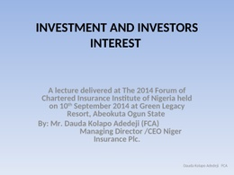 Investment And Investors' Interest