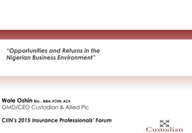 2015 INSURANCE PROFESSIONALS' FORUM: Paper 1