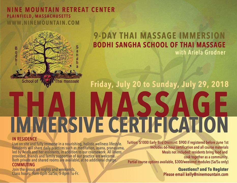 Thai Massage 9 Day Immersive Certification In Plainfield Ma Usa