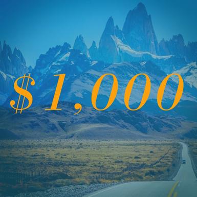 $1000 USD Runcation Travel Gift Card
