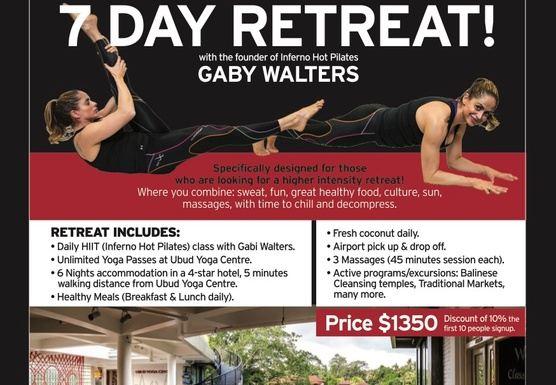 Gabi Walters, Inferno Hot Pilates Retreat, Ubud, Bali Aug. 23-29. 2018