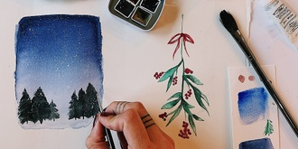 DIY Watercolour Christmas Cards