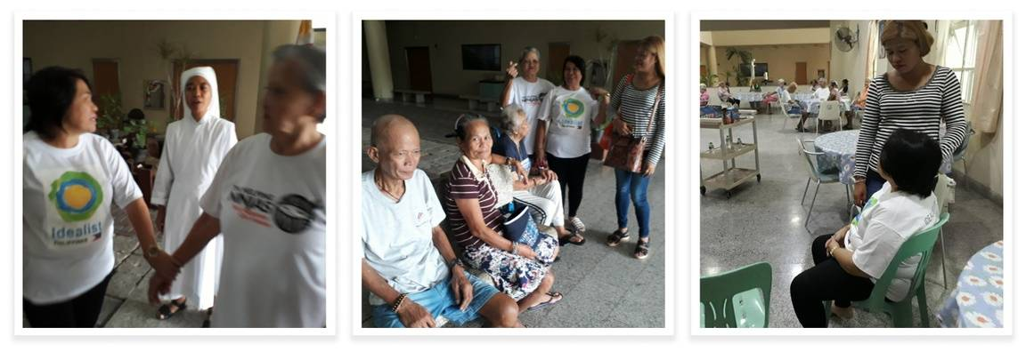 Idealists of the Philippines visiting elders at the San Lorenzo Ruiz Home for the Elderly.