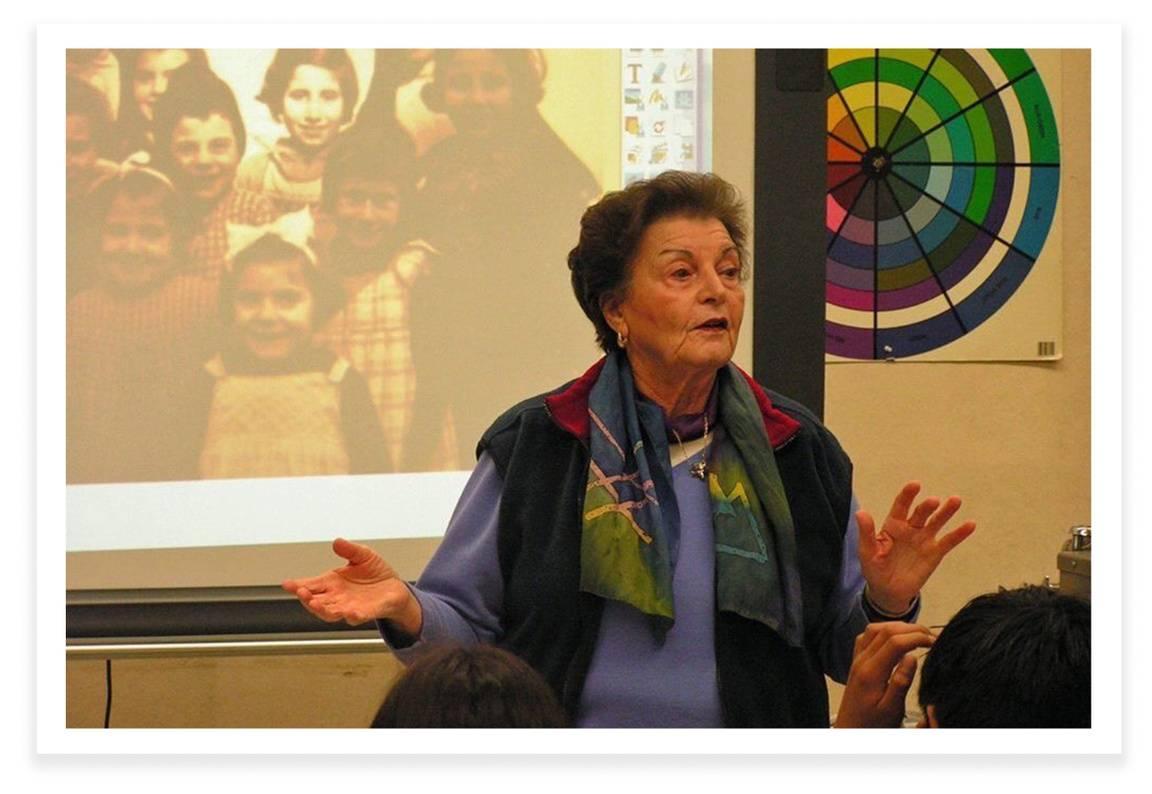 Gitta Ryle, Holocaust survivor, giving a talk about her experiences.