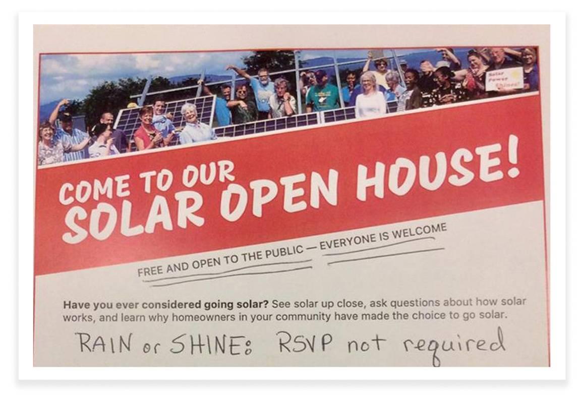 Poster for Renae Bowman's Solar Open House
