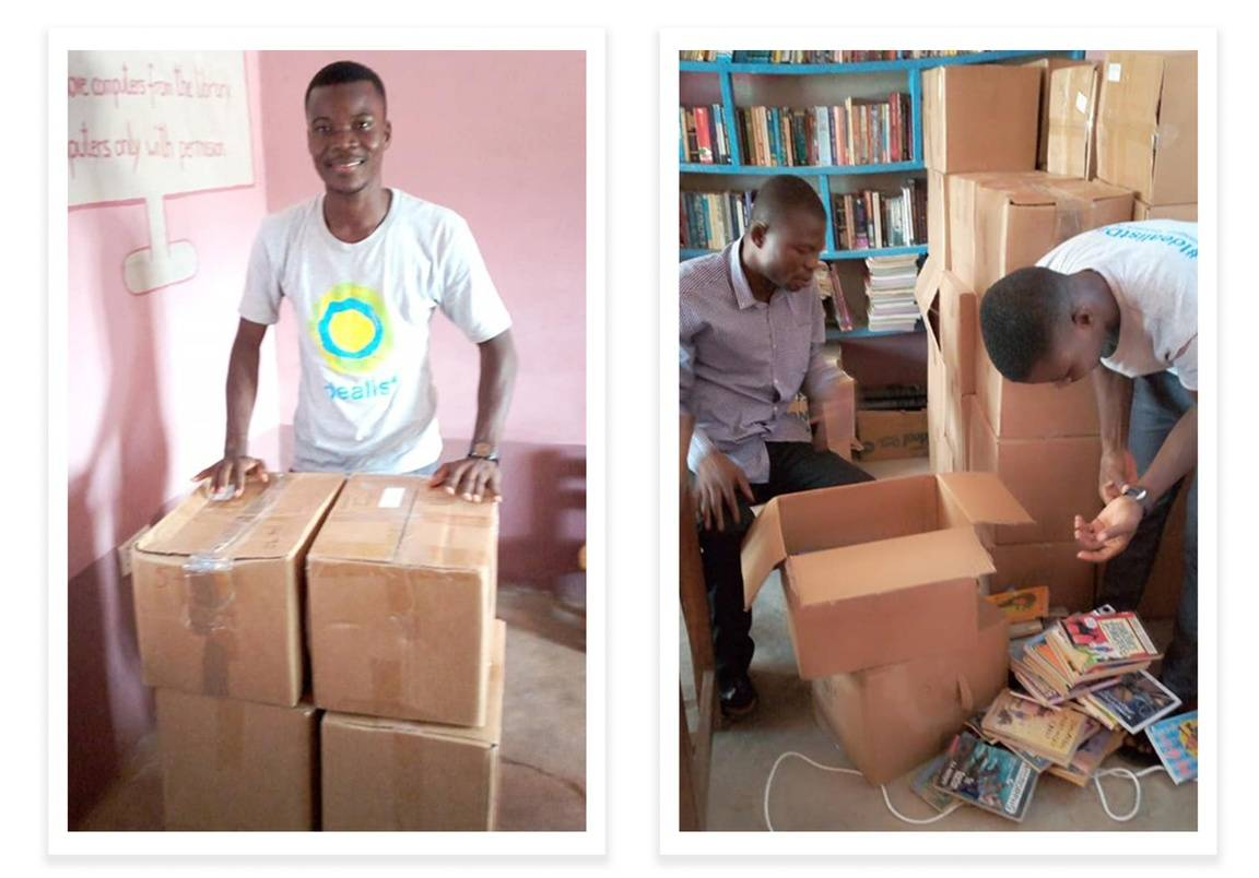 Solomon dropping off books on Idealist Day 6/6 at a community in Ghana