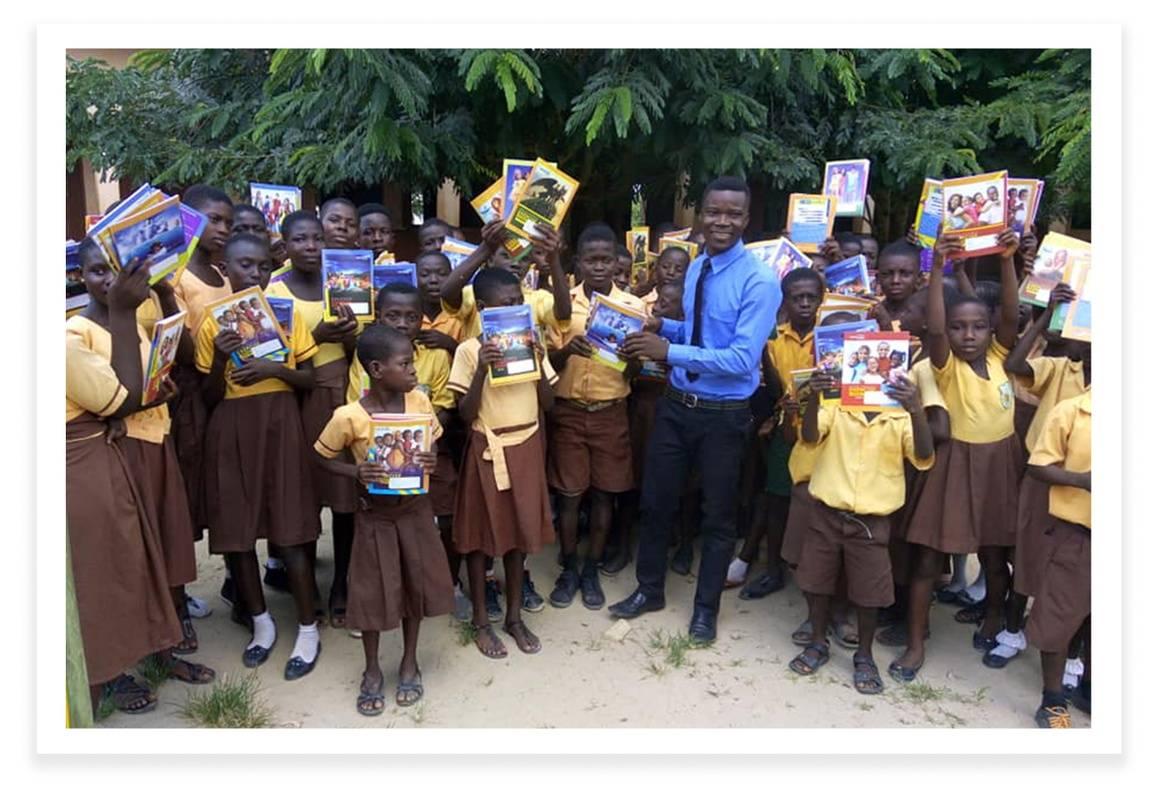 Donating Books to Schoolchildren in Ghana