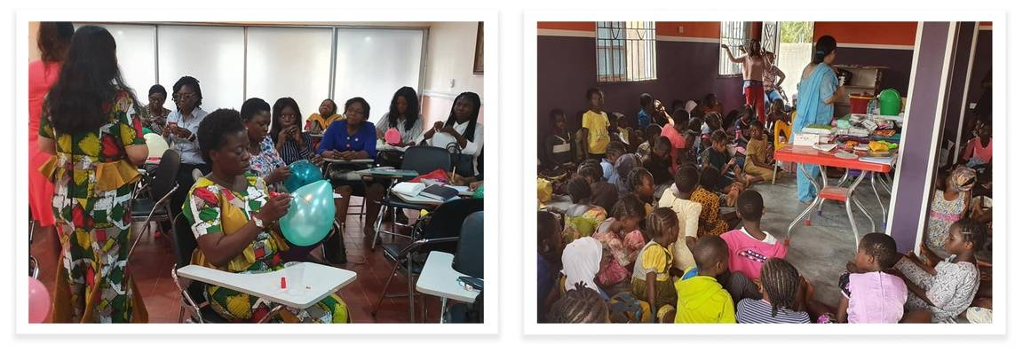 Olutosin Oladosu and Urmila Ch holding women's hygiene workshops throughout Nigeria