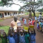 Children receiving didactic materials
