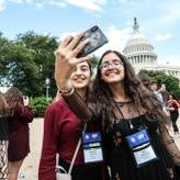 Future Leaders Exchange (FLEX) students take a selfie in front of the Capitol in Washington, DC