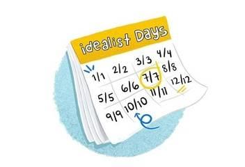 """<p>Y nuestro tercer elemento: <em>Días Idealist</em> mensuales, 8/8/, 9/9, 10/10, etc. Días para transformar intenciones en acciones, creando libertad y dignidad. Una oportunidad mensual para hacer algo, no importa cuánto de pequeño o grande, que hará de tu rincón del mundo un lugar un poquito mejor.</p><p>Buscar actividades en <a href=""""https://www.idealist.org/en/days/99"""">Idealist Days</a>.</p>"""