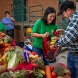 Volunteers helping bag food for families