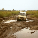 Vehicle going through mud