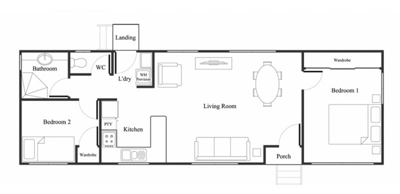 2 beds, 1 baths, 0 cars, 6.60 square main
