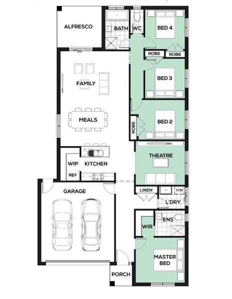 4 beds, 2 baths, 2 cars, 25.18 square floorplan