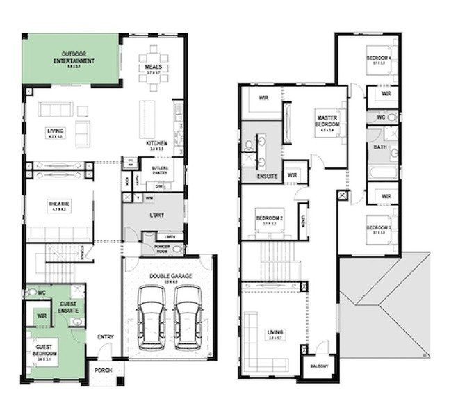 5 beds, 3.5 baths, 2 cars, 46.53 square floorplan
