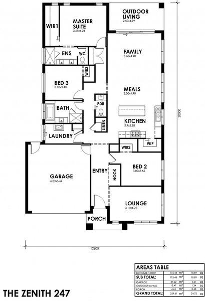4 bedroom, 2.5 bathrooms, 2 car spaces floor plan