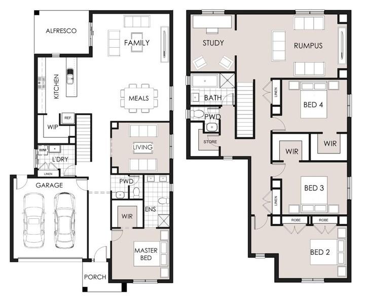 4 bedroom, 2 bathrooms, 2 car spaces floor plan