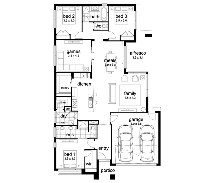 Mortlake By Dennis Family Homes 4 Beds 2 Baths 2 Cars 28 44 Square New Home Design