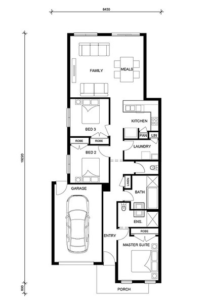 3 beds, 2 baths, 1 cars, 15.16 square floorplan