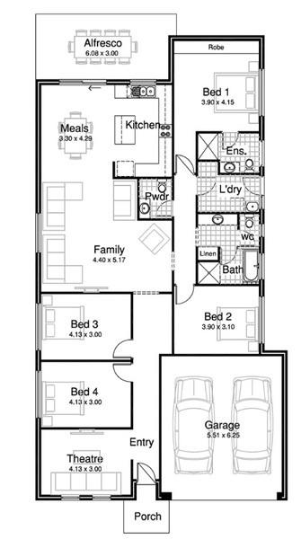 4 beds, 2 baths, 2 cars, 23.68 square floorplan
