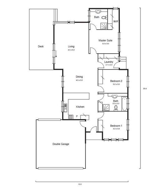 3 beds, 2 baths, 2 cars, 19.75 square floorplan