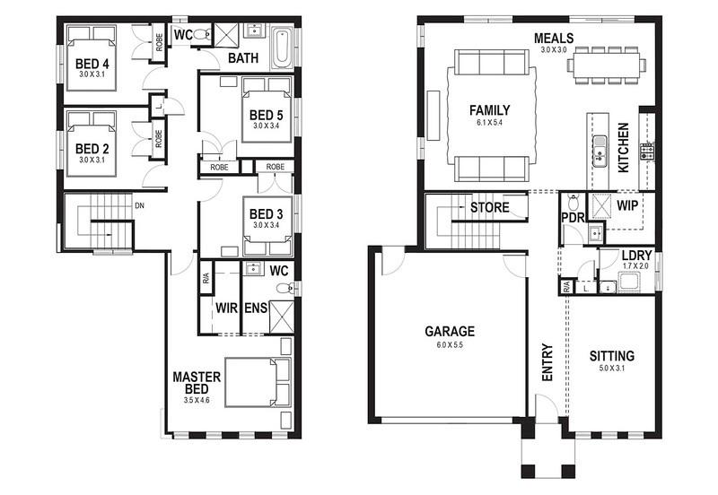 6 bedroom, 2 bathrooms, 2 car spaces floor plan