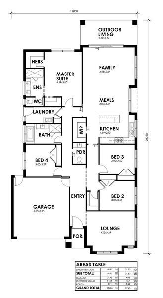 4 beds, 2.5 baths, 2 cars, 27.45 square floorplan