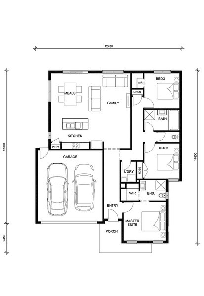 3 beds, 2 baths, 2 cars, 17.57 square floorplan