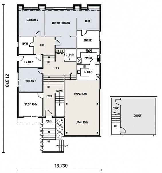3 beds, 2 baths, 2 cars, 29.50 square floorplan