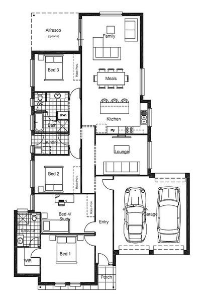 4 beds, 2 baths, 2 cars, 23.04 square floorplan