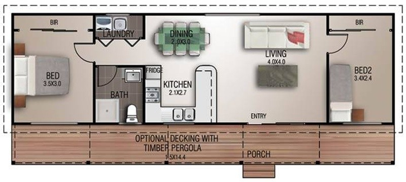 2 beds, 1 baths, 0 cars, 6.50 square main