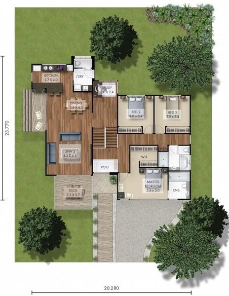 3 beds, 2 baths, 2 cars, 24.64 square floorplan