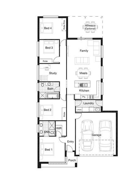 Single storey Display Home Series Family 195 House design