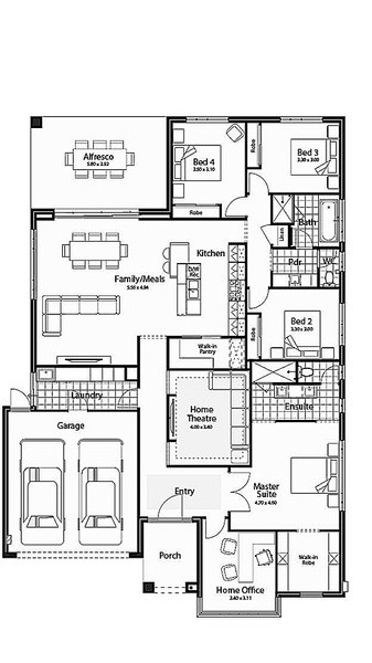 4 beds, 2 baths, 2 cars, 27.00 square floorplan