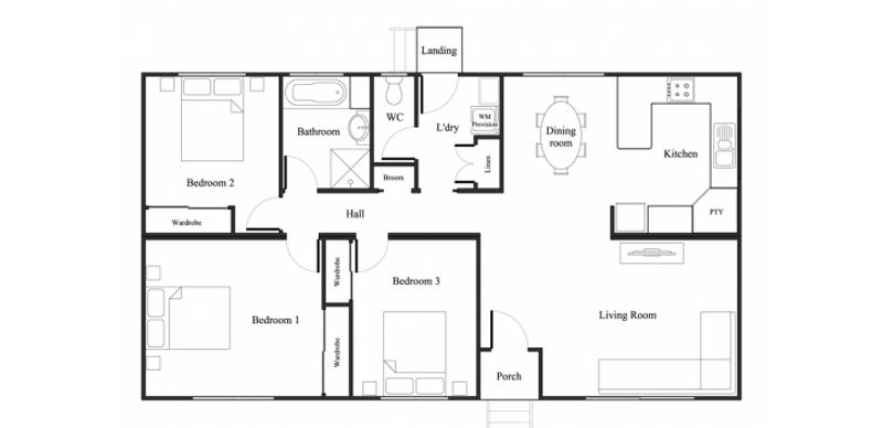 3 beds, 1 baths, 0 cars, 10.25 square main