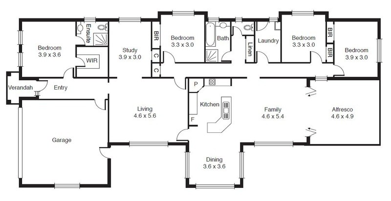 4 beds, 2.5 baths, 2 cars, 29.42 square floorplan